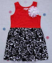 Crayonflakes Rose Print Knit Dress - Red & Black