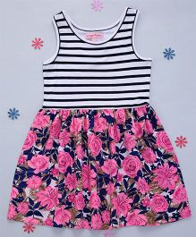 Crayonflakes Stripes With Beautiful Rose Printed Knit Dress - Blue & Pink