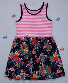 Crayonflakes Stripes & Floral Knit Dress - Pink & Navy Blue