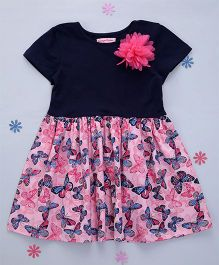 Crayonflakes Knit To Woven Butterfly Printed Dress - Navy Blue & Pink