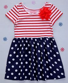 Crayonflakes Knit To Woven Polka Dot Dress - Red & Navy Blue