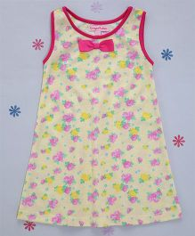Crayonflakes Roses With Bow Straight Knit Dress - Yellow & Pink