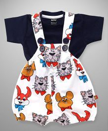 Wow Clothes Dungaree And Half Sleeves T-Shirt Animal Print - White & Navy Blue