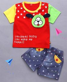 Wow Clothes Half Sleeves Tee And Shorts Star Print - Red & Navy Blue