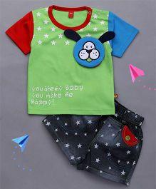 Wow Clothes Half Sleeves Tee And Shorts Star Print - Green & Black