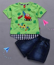 Wow Clothes Half Sleeves T-Shirt Vehicles Design And Denim Shorts - Green Blue