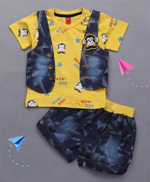 Wow Clothes Half Sleeves T-Shirt And Jacket Monkey Design With Denim Shorts - Yellow Blue