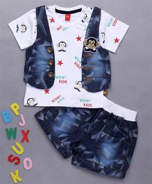 Wow Clothes Half Sleeves T-Shirt And Jacket Monkey Design With Denim Shorts - White Blue