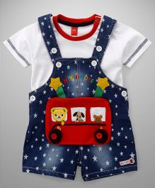 Wow Dungaree And Half Sleeves T-Shirt Bus Patch & Star Print - White & Blue
