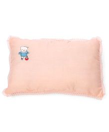 Rectangle Shape Baby Pillow Embroidery Detail - Peach
