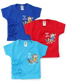 Cucumber Half Sleeves Vests Pack of 3 - Royal Blue Sky Blue Red
