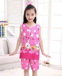 Pre Order - Awabox Rabbit Print Nightsuit - Pink