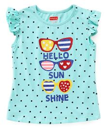 Babyhug Flutter Sleeves Tee Dotted And Sunglasses Print - Mint