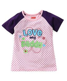 Babyhug Raglan Sleeves Tee Dotted And Text Print - Pink Purple