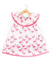 Hugsntugs Pink Flamingo Print Dress - Pink