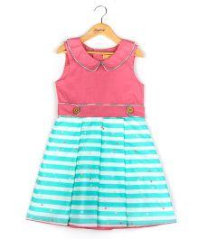 Hugsntugs Collar Dress - Blue & Pink