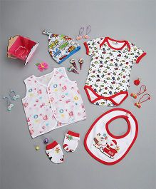 Needybee 6 Pc Baby Boy Or Girl Gift Set For Newborn - Red & White