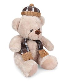 Dimpy Stuff Teddy Bear With Muffler And Cap Brown - Height 40 cm