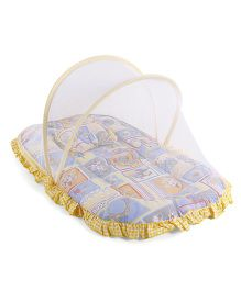 Mee Mee Mattress With Pillow And Mosquito Net Multiprint - Blue Yellow
