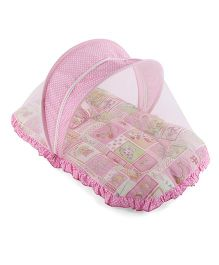 Mee Mee Mattress With Pillow And Mosquito Net Multiprint - Pink White
