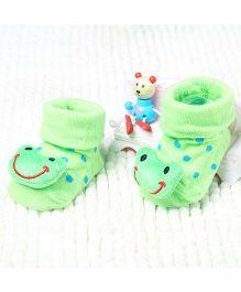 Little Sparkles Socks Shoes Frog Motif - Green
