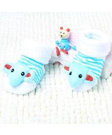 Little Sparkles Socks Shoes Elephant Motif - Blue White