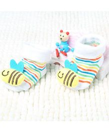 Little Sparkles Socks Shoes Honey Bee Motif - White