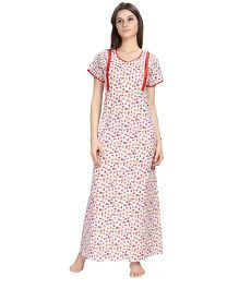 Eazy Short Sleeves Maternity Nursing Nighty - White Red