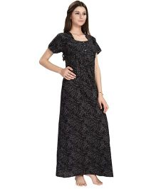 Eazy Short Sleeves Maternity Nursing Nighty Leaves Print - Black