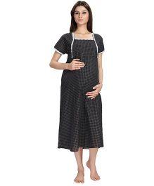 Eazy Short Sleeves Checks Maternity Nursing Nighty - Black