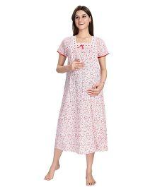 Eazy Short Sleeves Maternity Nursing Nighty Multiprint - White Red