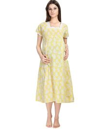 Eazy Short Sleeves Maternity Nursing Nighty Heart Print - Yellow