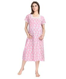 Eazy Short Sleeves Maternity Nursing Nighty Heart Print - Pink