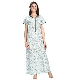 Eazy Short Sleeves Maternity Nursing Nighty Floral Print - Sea Green
