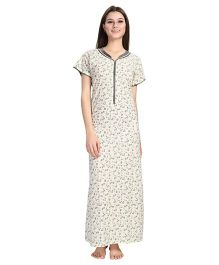 Eazy Short Sleeves Maternity Nursing Nighty Floral Print - Light Yellow