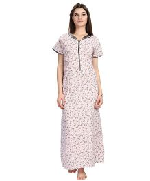 Eazy Short Sleeves Maternity Nursing Nighty Floral Print - Pink