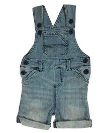 Kiddopanti Sleeveless Dungaree With Pockets - Light Blue