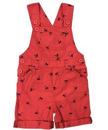 Kiddopanti Sleeveless Palm Tree Print Dungaree With Pockets - Red
