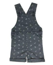 Kiddopanti Sleeveless Dungaree With Anchor Print & Pockets - Grey
