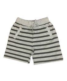 Kiddopanti Shorts With Drawstring Stripes Print - Grey
