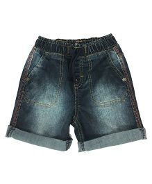 Kiddopanti Pull Up Denim Shorts With Drawstring - Dark Blue
