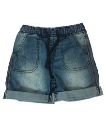 KiddoPanti Pull Up Denim Shorts With Drawstring - Light Blue