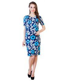 Blush 9 Knee Length Printed Maternity Dress - Blue & White