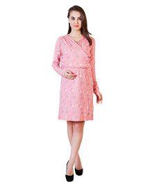 Blush 9 Knee Length Printed Maternity Dress - Peach