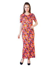 Blush 9 Maternity Half Sleeves Maxi Dress Floral Print - Red