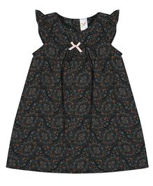 Colorfly Cap Sleeves Frock Floral Print - Black