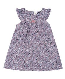 Colorfly Cap Sleeves Frock Floral Print - White Blue