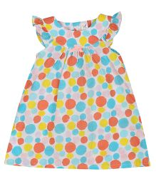 Colorfly Cap Sleeves Polka Dot Frock - White