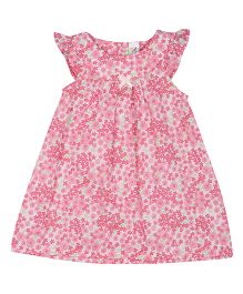 Colorfly Cap Sleeves Frock Floral Print - White Pink