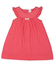 Colorfly Cap Sleeves Dotted Frock - Pink